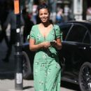 Rochelle Humes in Green Dress at Global Radio in London - 454 x 703