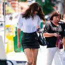 Irina Shayk in Leather Mini Skirt – Shopping in New York