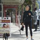 Shanina Shaik in Tights – Walking her dog Choppa in Los Angeles - 454 x 525