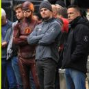 Grant Gustin & Stephen Amell Shoot 'The Flash' & 'Arrow' Crossover in Vancouver - See the Pics!