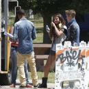 Justin Bieber and girlfriend Selena Gomez stopping by Bronco Burrito for lunch with a friend before heading to Lake Balboa to enjoy a walk around the lake while eating ice cream in Van Nuys, California on June 30, 2012