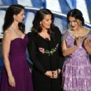 (L-R) Actors Ashley Judd, Annabella Sciorra and Salma Hayek speak onstage during the 90th Annual Academy Awards at the Dolby Theatre at Hollywood & Highland Center on March 4, 2018 in Hollywood, California