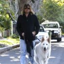 Billy Ray Cyrus takes his dogs out for a relaxing stroll through his neighborhood in Toluca Lake, California on April 4, 2014 - 446 x 594