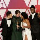 Rami Malek, Olivia Colman, Regina King and Mahershala Ali At The 91st Annual Academy Awards - Press Room - 454 x 348