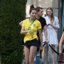 Adriana Lima in Brazil team jersey out in Paris
