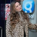 Kelly Brook in Animal Print Coat – Arriving at Heart Radio Studios in London