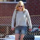 Anna Faris in Denim Shorts – Out in Los Angeles - 454 x 681