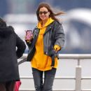 Irina Shayk in Leather Jacket and Hight Boots – Out in New York