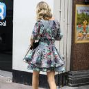 Charlotte Hawkins – In a floral mini dress outside the Global Radio Studios in London