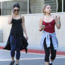 Stella and Vanessa Hudgens: leaving a gym and stopping by Pressed Juicery for a juice in Studio City