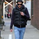 Zachary Quinto talks on his cell phone as he walks through Manhattan's West Village on Wednesday (January 28).