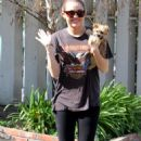 Miley Cyrus outside her house in Toluca Lake, 08-02-11