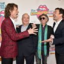 Mick Jagger, Lorne Michaels, Keith Richards, and Jimmy Fallon attend The Rolling Stones celebrate the North American debut of Exhibitionism at Industria in the West Village on November 15, 2016 in New York City - 454 x 302