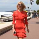 Lena Gercke in Red Dress out in Cannes - 454 x 829