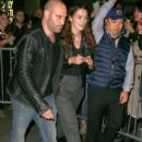 Keira Knightley is seen leaving the theatre after appearing in the opening night preview for 'Therese Raquin' in New York City, New York on October 1, 2015