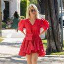 Julianne Hough in Red Dress – Out for errands in Beverly Hills