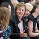 Nancy Shevell, Sir Paul McCartney, Rita Ora and Jamie Campbell Bower attend the Hunter Original show during London Fashion Week Spring Summer 2015 at on September 13, 2014 in London, England.