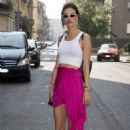 Alessandra Ambrosio in Pink Skirt – Out in Milan - 454 x 681