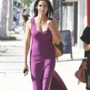 Padma Lakshmi In Purple Tight Dress In West Hollywood