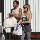 Newly engaged actress Ashley Tisdale refuels at Sugarfish after a spin class in Los Angeles, California on August 15, 2013