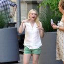 Dakota Fanning and Elizabeth Olsen were spotted on set of their new film, Very Good Girls, in Brooklyn this morning, July 18