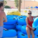 Billie Faiers in Red Swimsuit at a water park in Dubai - 454 x 320