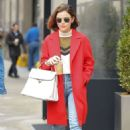 Lucy Hale in Red Coat Out in NYC