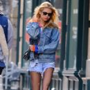 Stella Maxwell in Denim Shorts – Out in New York City - 454 x 719
