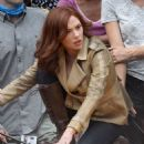 Scarlett Johansson On Set Of Captain America Civil War In Atlanta
