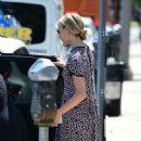 Dianna Agron in a print dress out in Los Angeles - 454 x 834