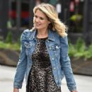 Charlotte Hawkins – Wears animal print dress while arriving Classic FM in London