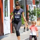 Alessandra Ambrosio and son Noah Mazur are seen out together on August 27, 2016