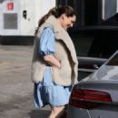Kelly Brook – In blue dress leaving Global Radio Studios in London