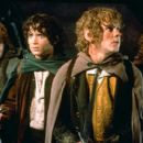 Sean Astin as Sam, Elijah Wood as Frodo, Dominic Monaghan as Merry and Billy Boyd as Pippin, a group of Hobbits embarking on a journey to save Middle-Earth from the evil powrs of the ring in New Line's The Lord of The Rings: The Fellowship of The Ring