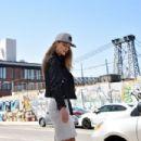 Nina Agdal shoots New Era Cap MLB Campaign on April 13, 2016 in Brooklyn, New York