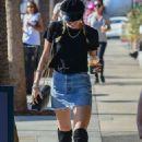 Miley Cyrus in Denim Skirt at Alfred Coffee in Studio City
