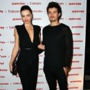 Miranda Kerr and Orlando Bloom: at the Qantas and Emirates partnership launch