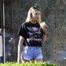 Jessica Hart in Denim Shorts out in LA - 454 x 505
