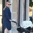 Kirsten Dunst with her newborn son Ennis in Los Angeles - 454 x 681