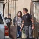 Milla Jovovich – Arriving on set of their new film in Barcelona - 454 x 650