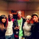 Amber Rose, Wiz Khalifa, Kelly Rowland, Akon, and Pharrell in the Studio in Los Angeles, California - March 22, 2013