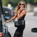 Abbey Clancy In Black Dress Out In North London