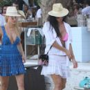 Nicole Scherzinger in Pink Bikini Top at the beach in Mykonos