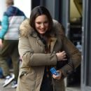 Kelly Brook – Arriving at Heart Radio in London