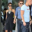 Halle Berry and her boyfriend Olivier Martinez leaving their hotel in Miami, Florida on February 2, 2013