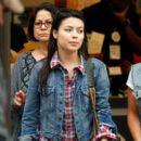 Miranda Cosgrove dines out with her parents and a friend Morels French Steakhouse & Bistro in Los Angeles