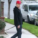 Michael C. Hall out walking his dog in Los Feliz, California on December 24, 2013