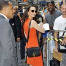 Kristin Davis greeting fans as she arrived for an interview on 'Good Morning America' in New York City, New York (July 17)