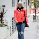 Kimberly Wyatt in Red Jacket – Out in London - 454 x 618