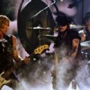 Musician Duff McKagan, actor/musician Johnny Depp and musician Matt Sorum of Hollywood Vampires perform onstage during The 58th GRAMMY Awards at Staples Center on February 15, 2016 in Los Angeles, California.